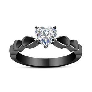 Jewelry - Black Rhodium Heart Solitaire